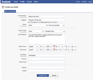 Facebooks event creation page