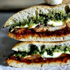 grilled chicken melt with pesto sundried tomato-spread
