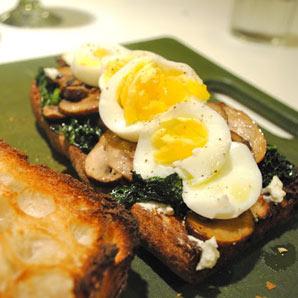 kale mushroom egg goat cheese sandwich
