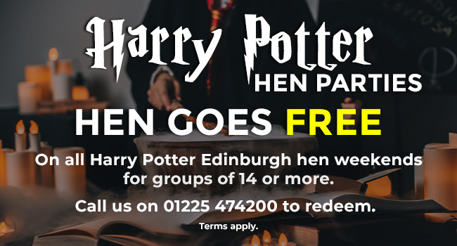 Harry Potter Hen Parties. Hen Goes Free on all Harry Potter Edinburgh hen weekends  For groups of 14 or more. Call us on 01225 474200 to redeem .