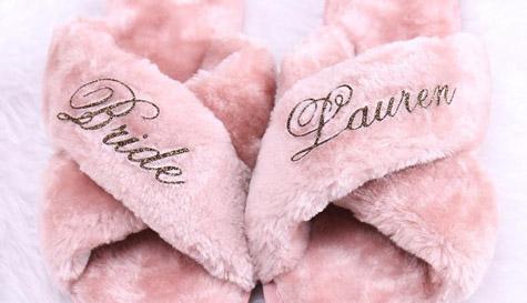 fluffy slippers bride bridesmaid