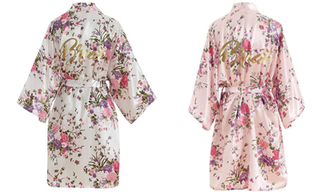 kimino style bride dressing gown
