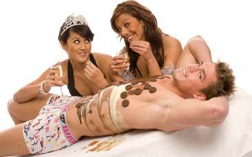 body chocolate eating hen party activity