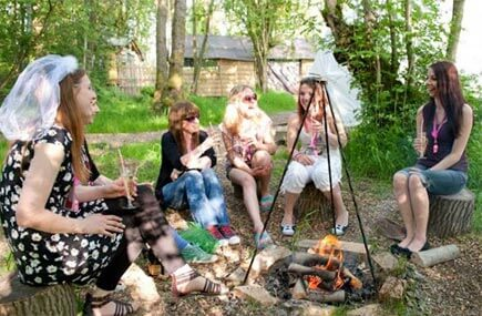 Group on a glamping hen weekend