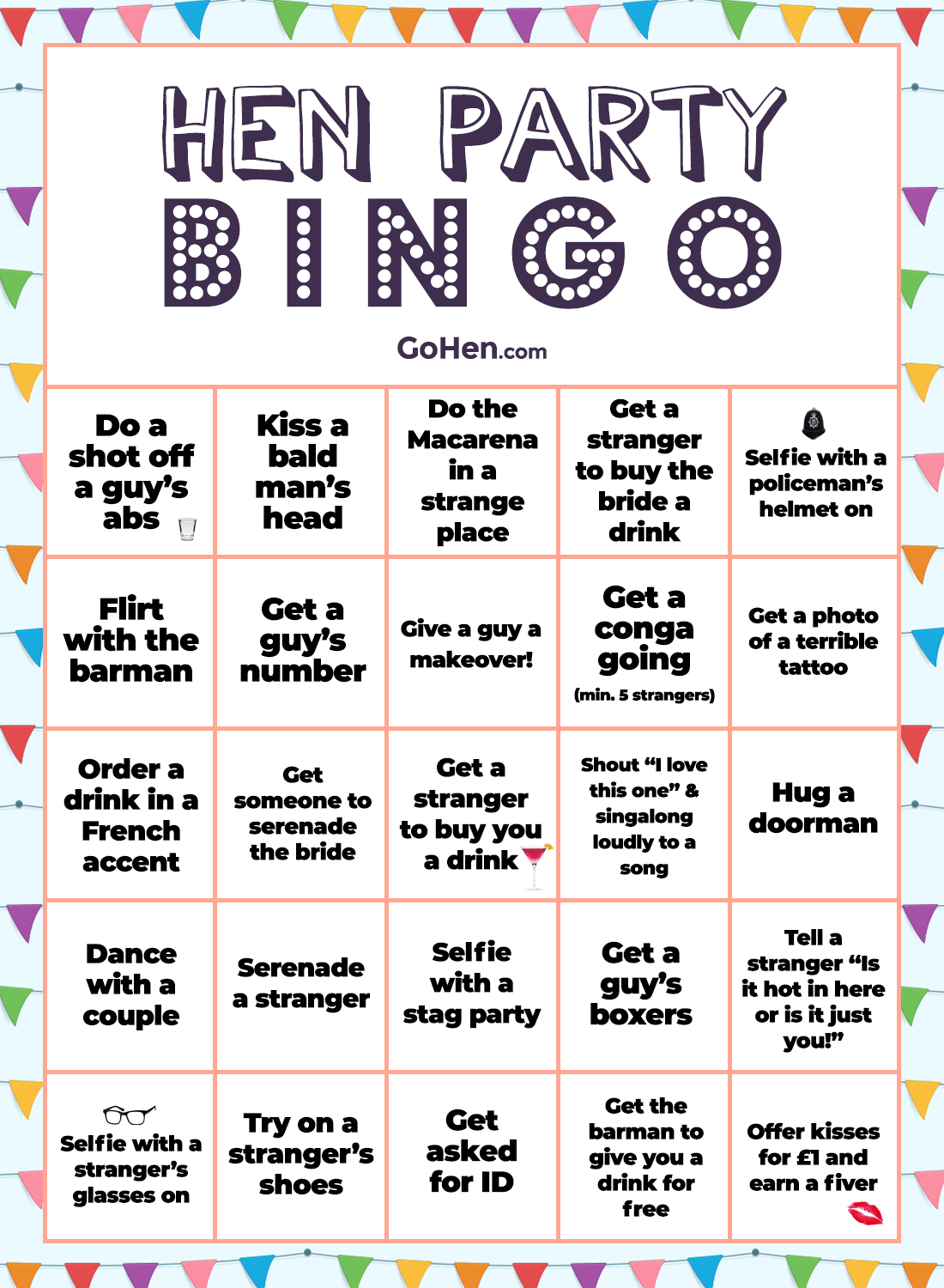 Hen party bingo game
